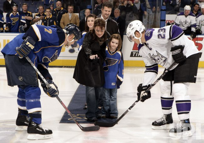 Governor Sarah Palin drops the puck before hockey game