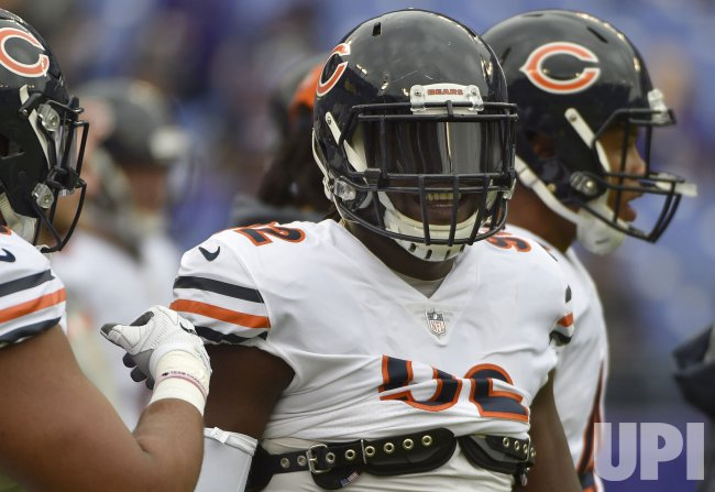 Bears linebacker Pernell McPhee warms up before Ravens game