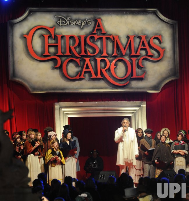 Andrea Bocelli performs at A Christmas Carol premiere in London