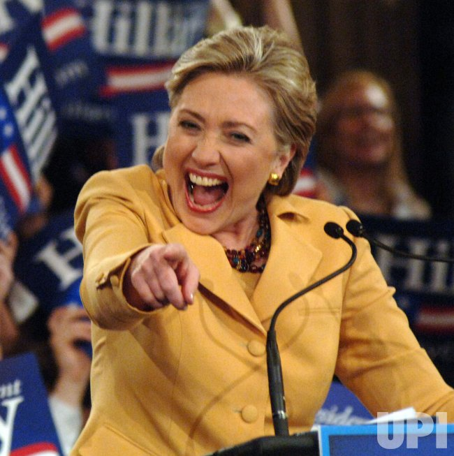 "Senator Hillary Clinton celebrates her ""Super Tuesday"" election wins"