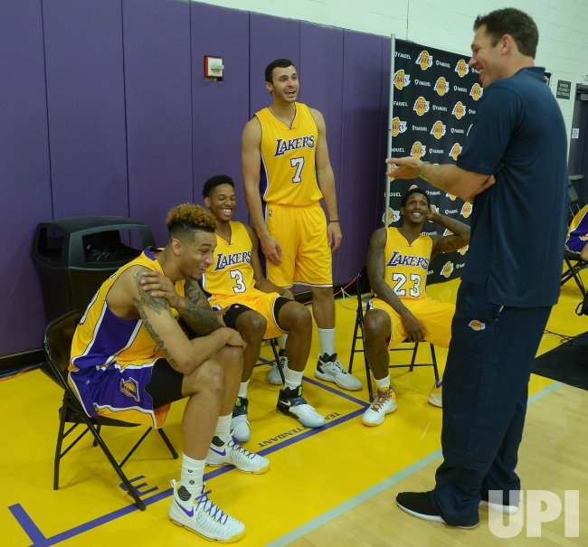 Zach Auguste, Anthony Brown, Larry Nance Jr and Luke Walton participate in Lakers media day