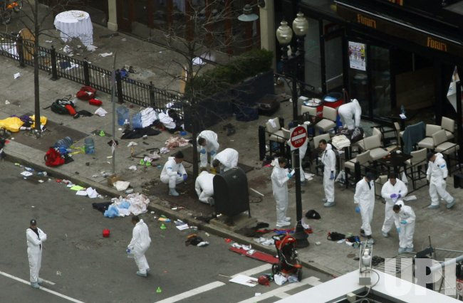 Bomb blasts at Boston Marathon in Boston, MA