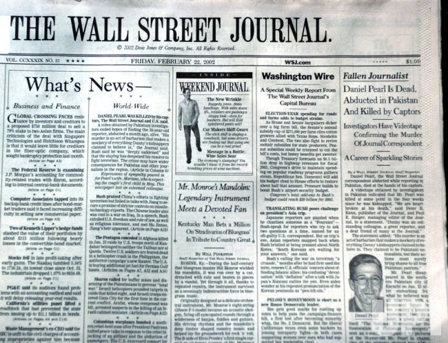 New York Newspapers report death of Wall Street Journal reporter