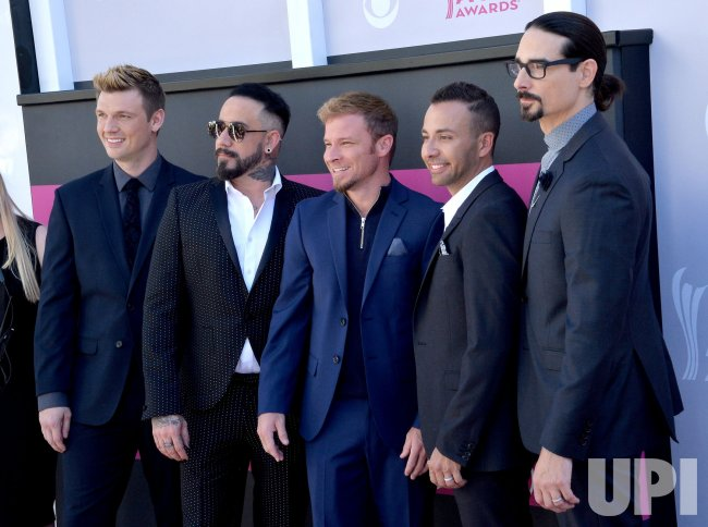 Nick Carter, AJ McLean, Brian Littrell, Howie D and Kevin Richardson attend the 52nd annual Academy of Country Music Awards in Las Vegas