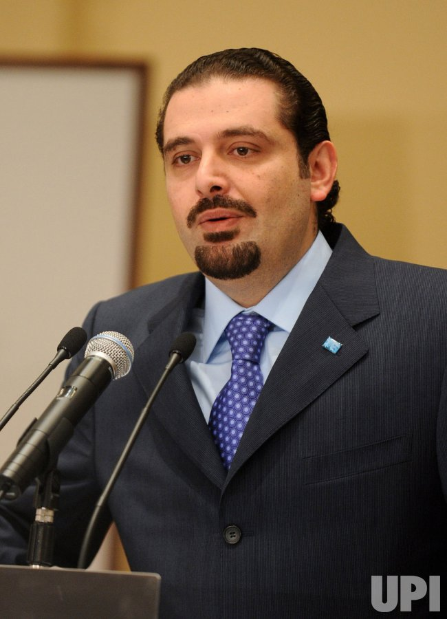 Sunni Moslem majority leader Saad Hariri speaks in Lebanon