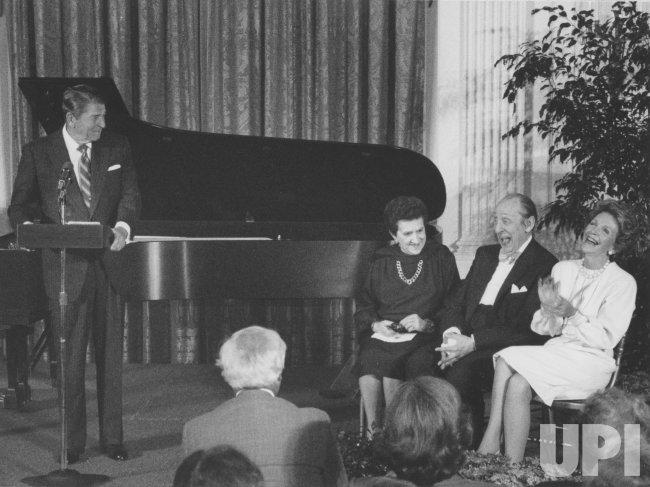 President Reagan Jokes with Nancy Reagan and Vladimir Horowitz