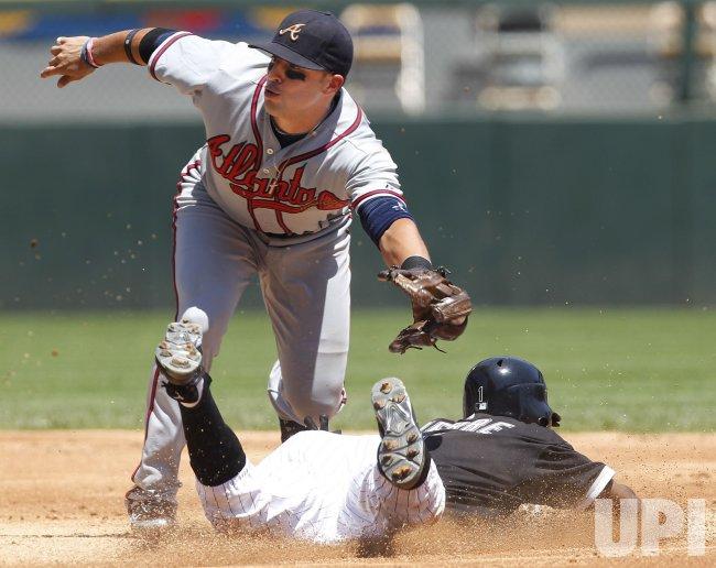 Braves Prado tags out stealing White Sox Pierre