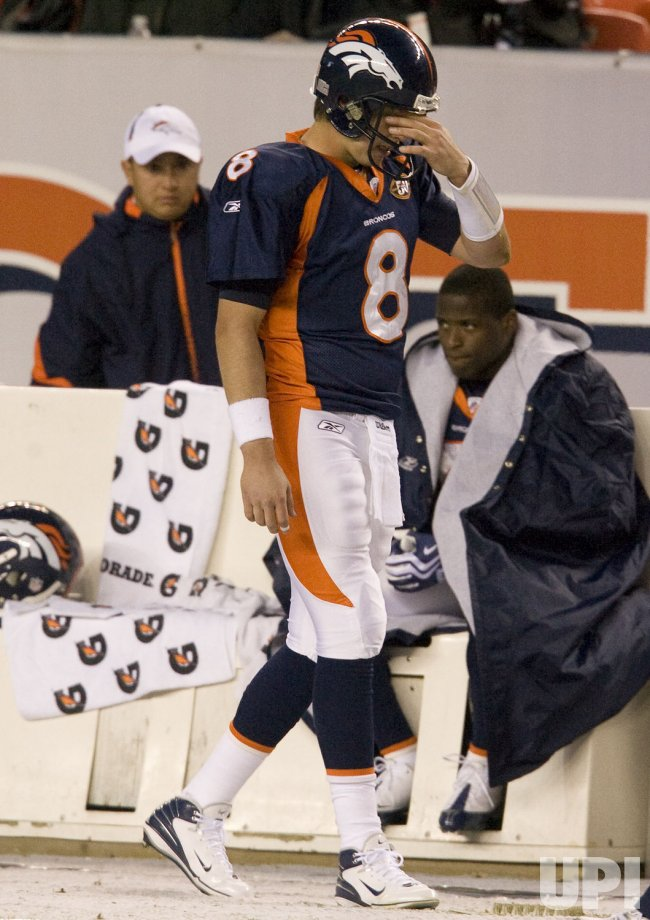 Broncos Orton Reacts on the Sidelines during Fourth Quarter Against Chargers in Denver