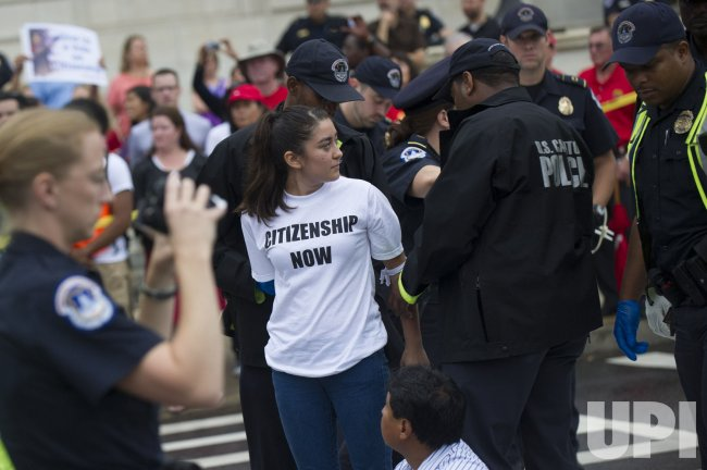 Immigration Protesters Block Traffic near the U.S. Capitol In Washington