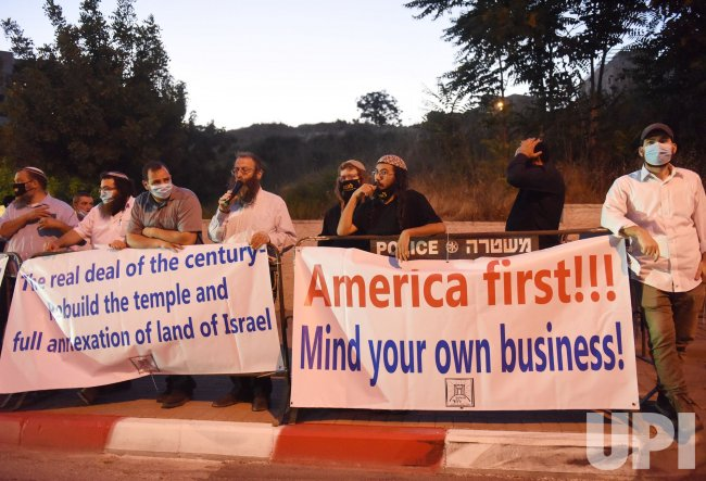 Israeli Settlers Protest U.S. President Donald Trump's Peace Plan in Jerusalem