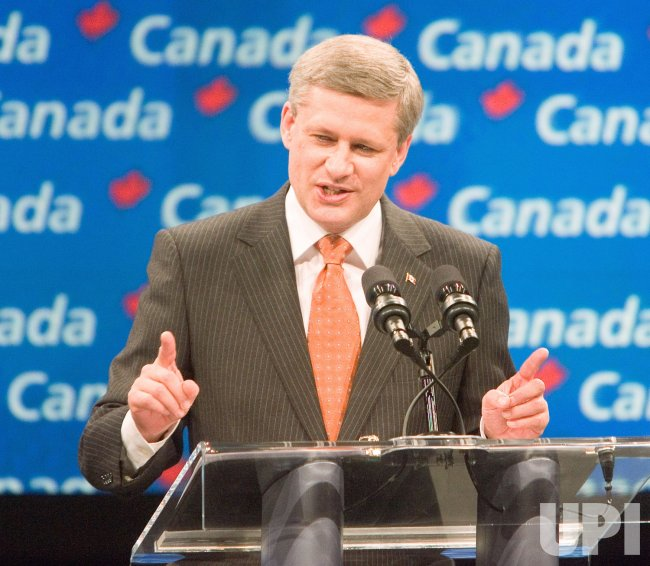 Federal Conservative Leader Stephen Harper celebrates winning second minority government at Calgary 2008 Election Night Headquarters