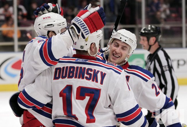 New York Rangers Artem Anisimov, Brandon Dubinsky and Ryan Callahan at Madison Square Garden in New York