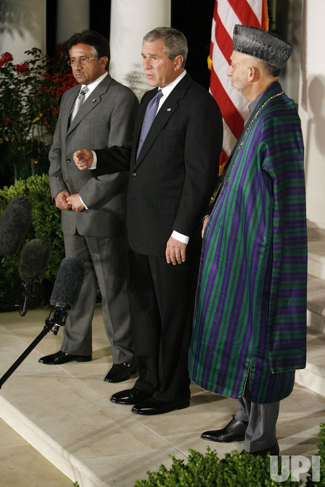 Bush Makes A Statement With Presidents Karzai And Musharraf