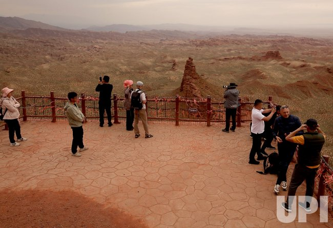 Tourists Take Photos of China's 'Grand Canyon' in Wangye, China