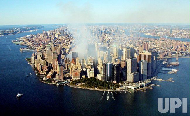 Aerial view of destroyed World Trade Center