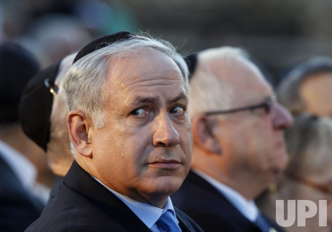 Israel's Prime Minister Netanyahu lays a wreath during a ceremony in Jerusalem