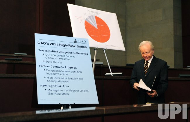 "Sen. Joseph Lieberman attends a press conference on the Government Accountability Office's biennial ""High Risk Series"" in Washington"
