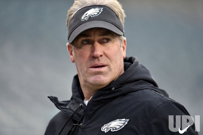 Eagles head coach Doug Pederson walks the field