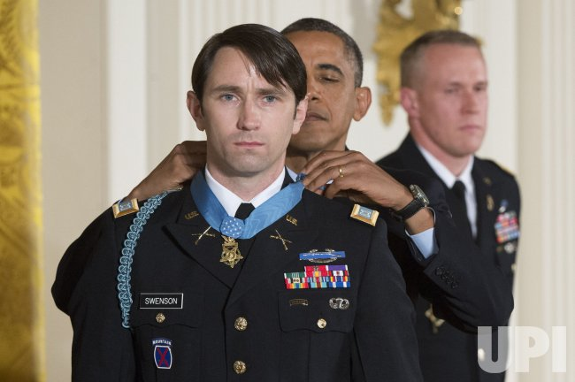 President Barack Obama awards the Medal of Honor to Ret. Army Capt. William Swenson in Washington
