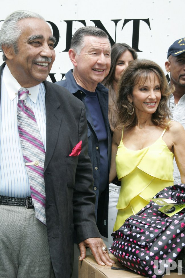"Susan Lucci, Charles Rangel and Larry Jones arrive for the Feed the Children/""Daytime Gives Back"" project in New York"