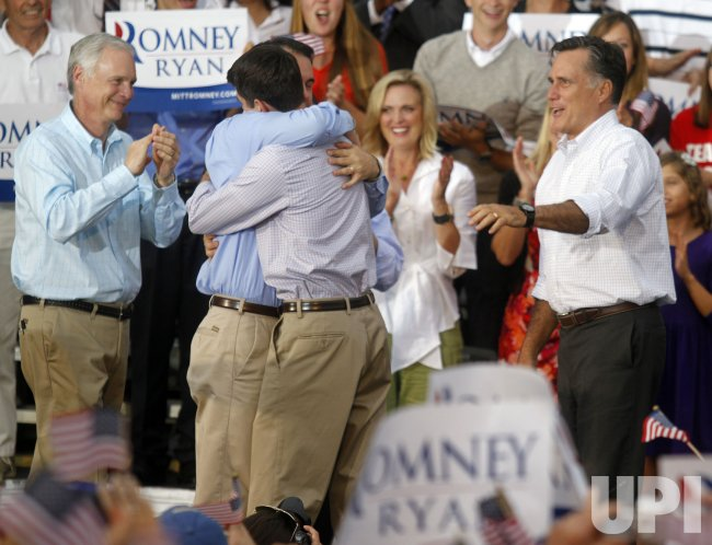 Republican presidential candidate Mitt Romney campaigns with newly announced vice presidential candidate Ryan in Waukesha, Wisconsin