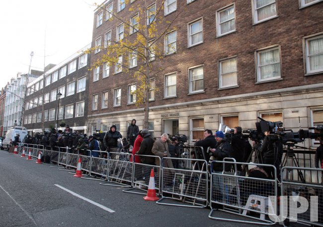 International media gather for news of Catherine The Duchess of Cambridge's health after news of pregnancy announced
