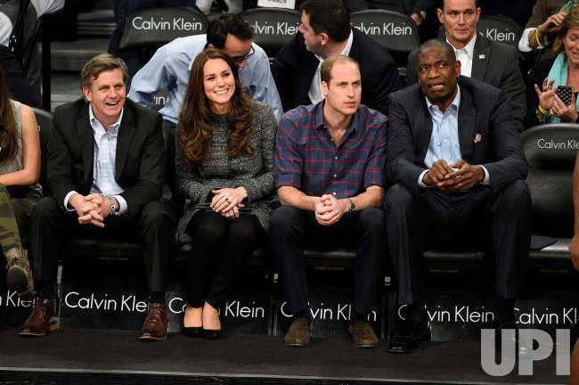 Prince William and Kate, the Duke and Duchess of Cambridge attend a Brooklyn Nets game