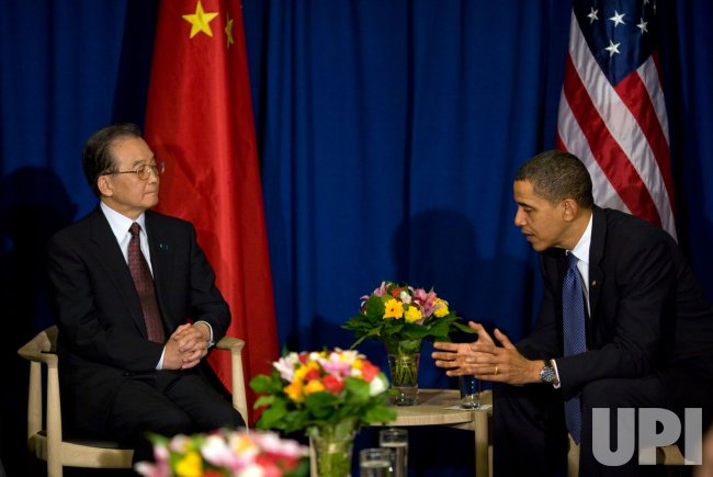 U.S. President Barack Obama meets with Chinese Premier Wen Jiabao in Copenhagen