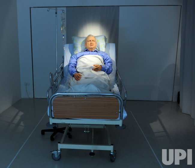 A life-size replica of former Israeli Prime Minister Ariel Sharon in a hospital bed is exhibited in the Kishon Gallery in Tel Aviv