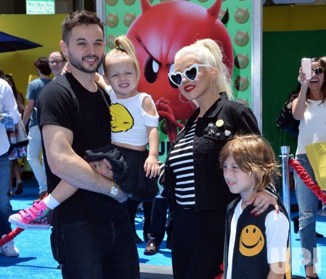 Christina Aguilera And Family Attend The Emoji Movie Premiere In