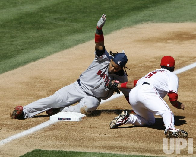 Los Angeles Angels vs Boston Red Sox Game three of ADLS in Anaheim, California