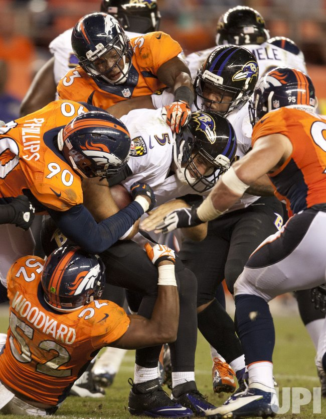 The Denver Broncos host the Baltimore Ravens for the NFL Kickoff game to start the 2013 NFL season in Denver