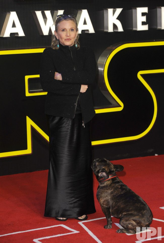 "Carrie Fisher attends the European Premiere of ""Star Wars - The Force Awakens"" in London"