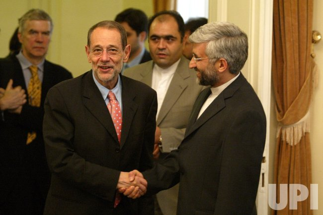 European Union Foreign Policy Chief Javier Solana meets Iran's chief nuclear negotiator Saeed Jalili in Tehran