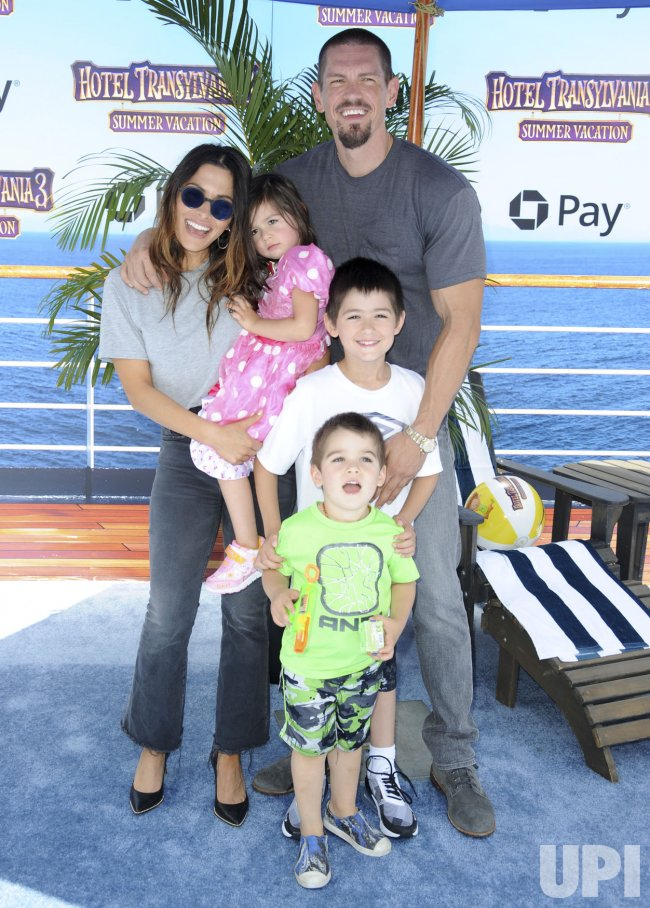 "Sarah Shahi, husband Steve Howey, daughter Violet Moon Howey, son William Wolf Howey and son Knox Blue Howey attend the ""Hotel Transylvania 3: Summer Vacation"" premiere in Los Angeles"