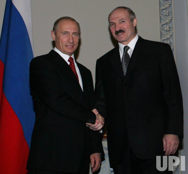 RUSSIAN AND BELARUSIAN PRESIDENTS PUTIN AND LUKASHENKO MEET IN ST PETERSBURG