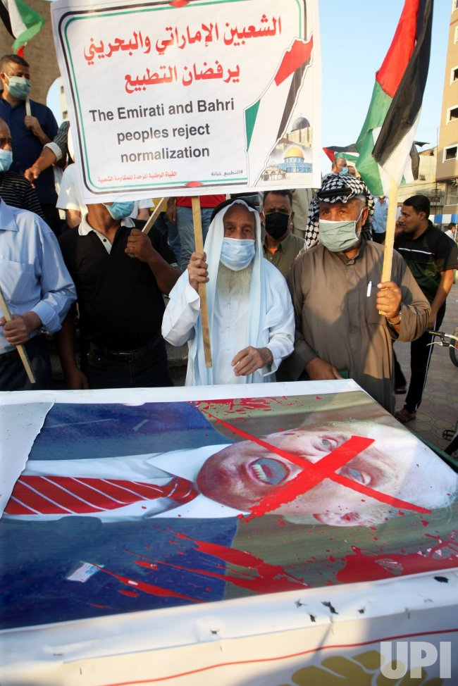 Palestinians Protest Against the United Arab Emirates and Bahrain's Deal With Israel to Normalise Relations..