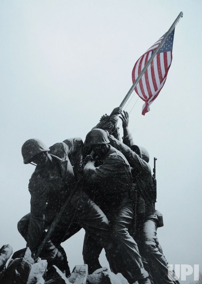 Iwo Jima memorial seen during snow storm in Arlington, Virginia.
