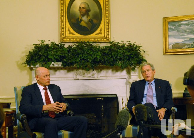 U.S. President Bush meets with Treasury Secretary Paulson in Washington