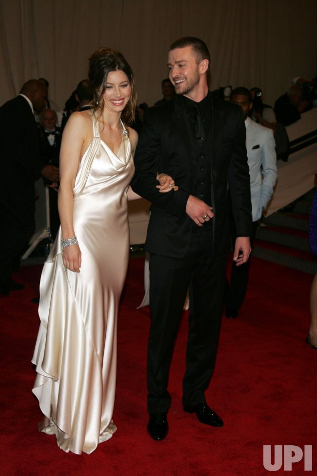 Jessica Biel and Justin Timberlake arrive for the Metropolitan Museum of Art's Costume Institute Gala in New York