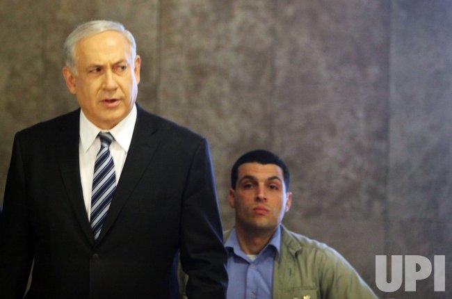 Isralei Prime Minister Benjamin Netanyahu in Jerusalem cabinet meeting