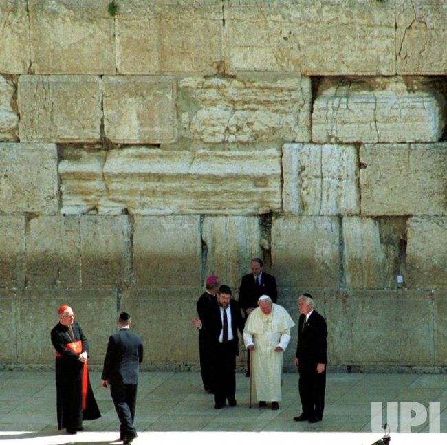 Pope John Paul II at the Western Wall in Jerusalem