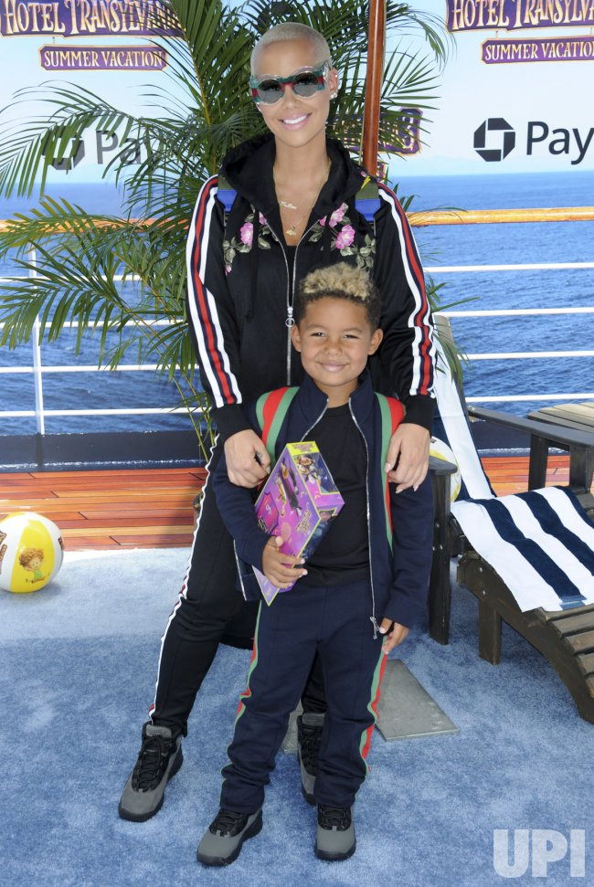 """Amber Rose and son Sebastian Taylor Thomaz attend the """"Hotel Transylvania 3: Summer Vacation"""" premiere in Los Angeles"""