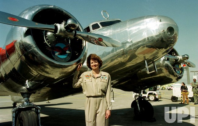 Pilot Linda Finch attempts to fly around the world