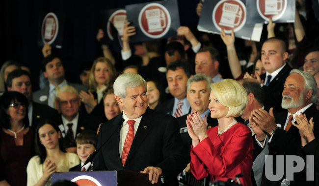 Republican presidential candidate Newt Gingrich attends a victory party in Atlanta on Super Tuesday