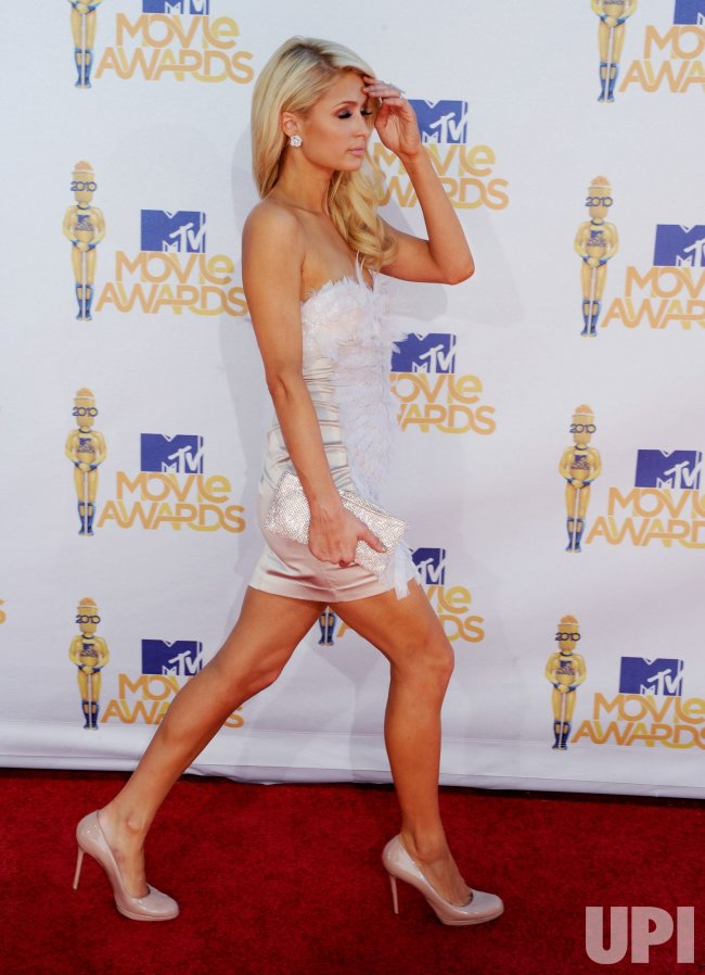 Paris Hilton arrives at the MTV Movie Awards in Los Angeles