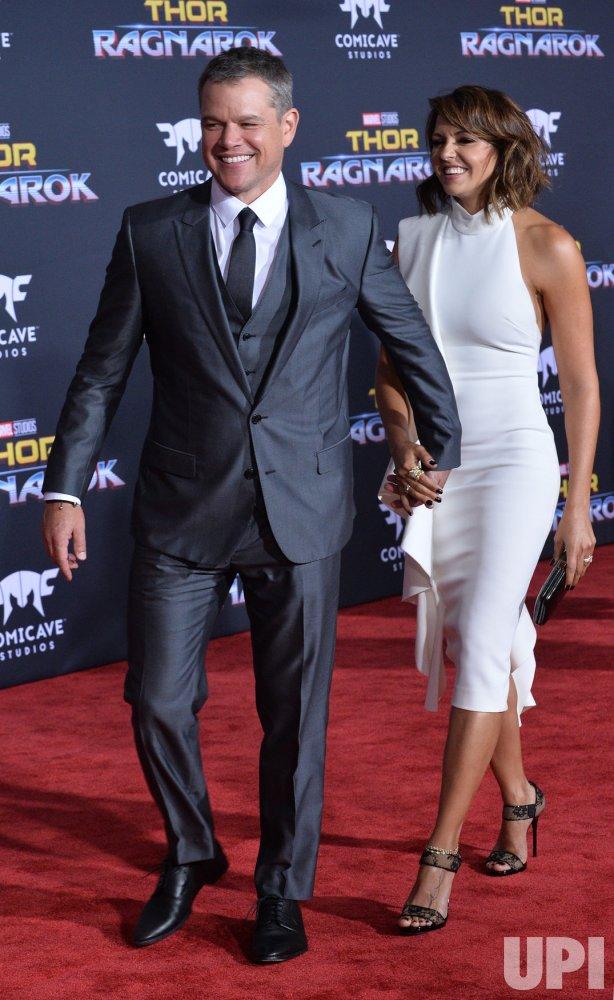 """Matt Damon and Luciana Barroso attend the """"Thor: Ragnarok"""" premiere in Los Angeles"""