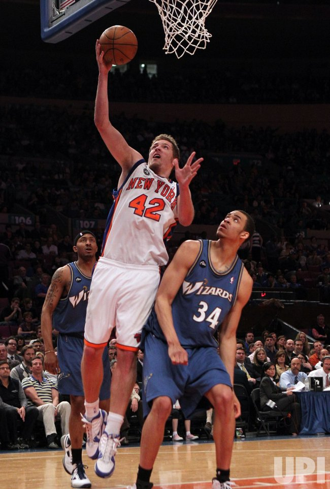 New York Knicks David Lee shoots a lay up over Washington Wizards JaVale McGee at Madison Square Garden