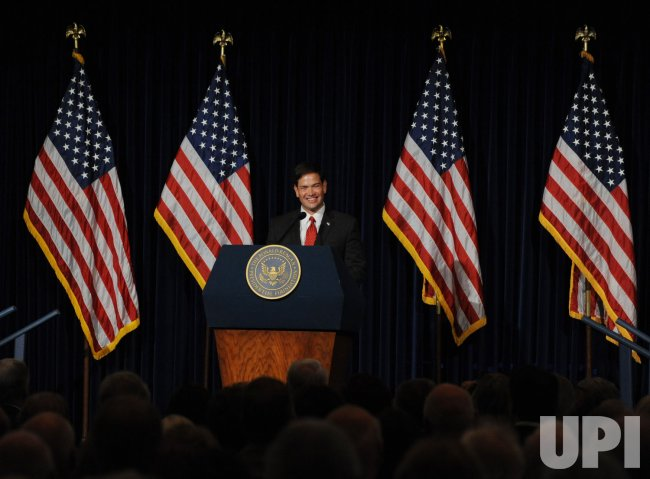 U.S. Senator Marco Rubio speaks at the Ronald reagan Presidential Library in Simi Valley, California