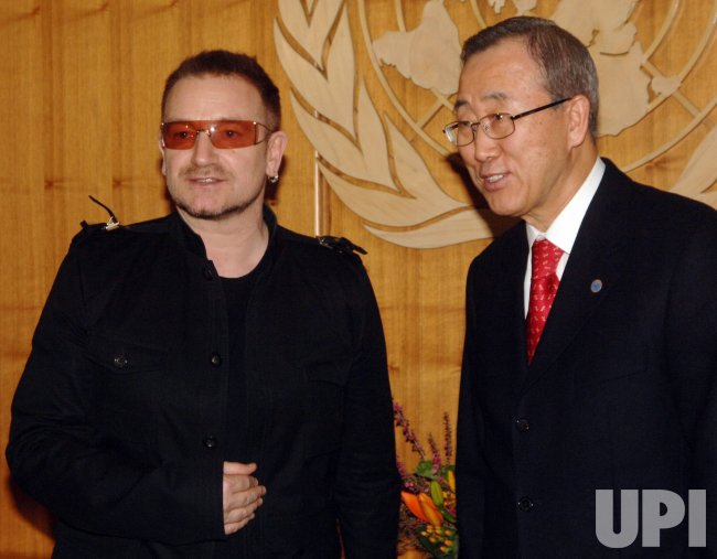 Bono visits UN Secretary General Ban Ki Moon in New York